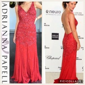 Adrianna Papell Red long beaded evening dress